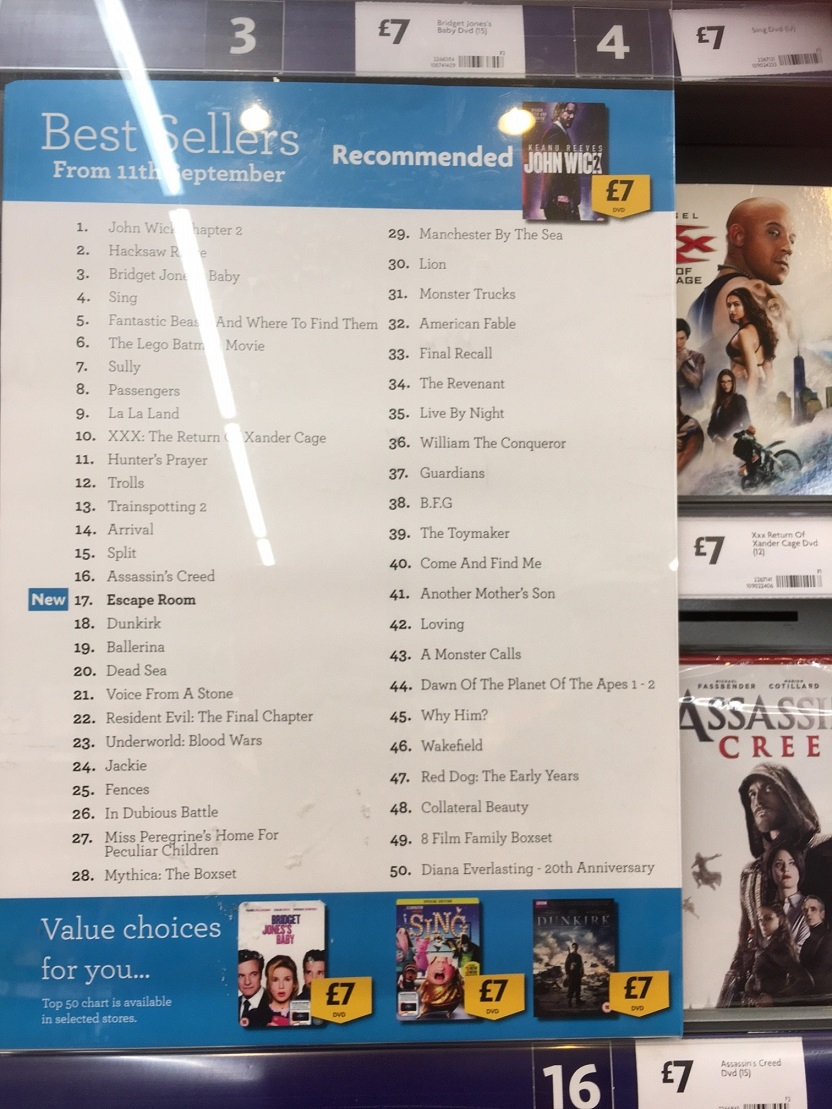 The Toymaker DVD chart position in Morrisons Stockton Heath in Cheshire