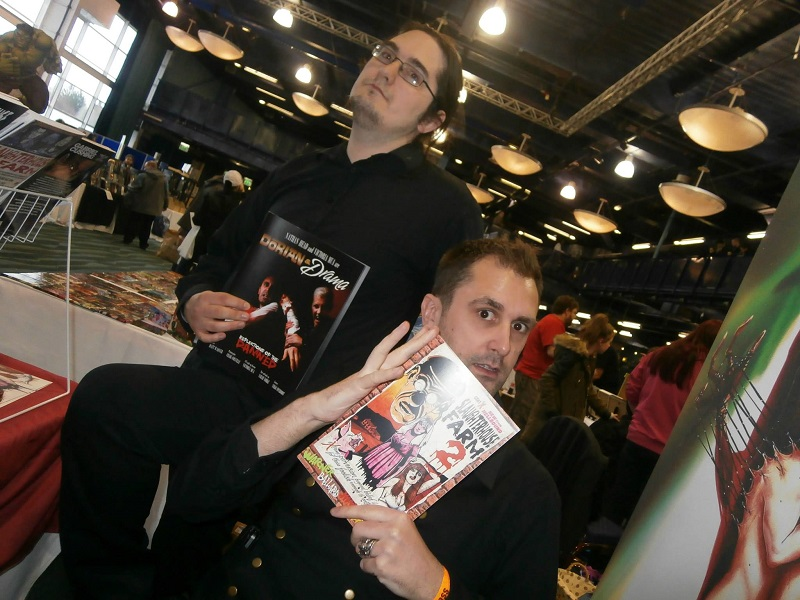 actor Nathan Head and filmmaker Mark Adams - Slaughterhouse Farm comic - Dorian and Drama comic