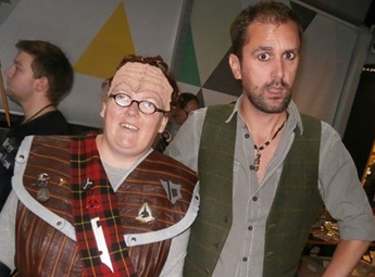 Nathan Head with a scottish-cum-german Klingon CosPlayer at Mersey Con