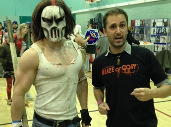 Nathan Head with cosplay performer Chris Mason at Wales Comic Con November 2016