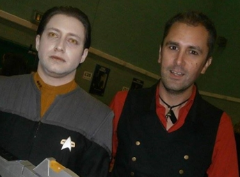actor Nathan Head with Star Trek cosplay actor Lee Bradley at Wales Comic Con 2016