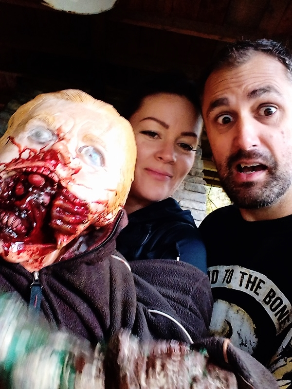 "actor ""Nathan Head"" on the set of ""Jurassic Predator"" with makeup artist ""Amanda Williams"""