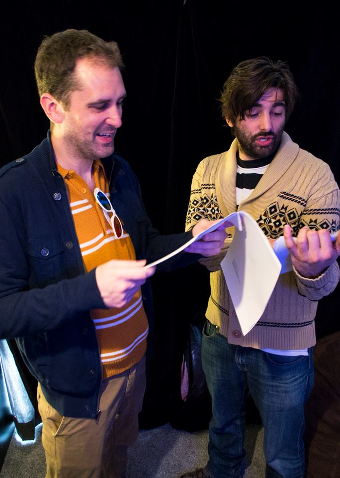 actors Nathan Head & Joe Stacey running through lines for TEARFUL SURRENDER