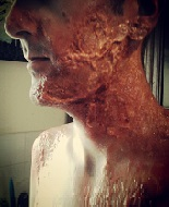 "actor ""Nathan Head"" in prosthetic makeup for a horror movie"
