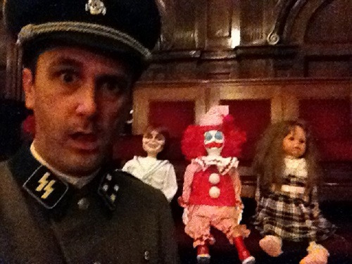 Actor Nathan Head with Robert and Otto and Isabelle during filming of The Toymaker