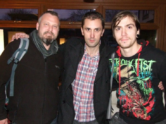 "SFX Mua ""Mike Peel"" and journalist ""Dean Boor"" with horror actor ""Nathan Head"""