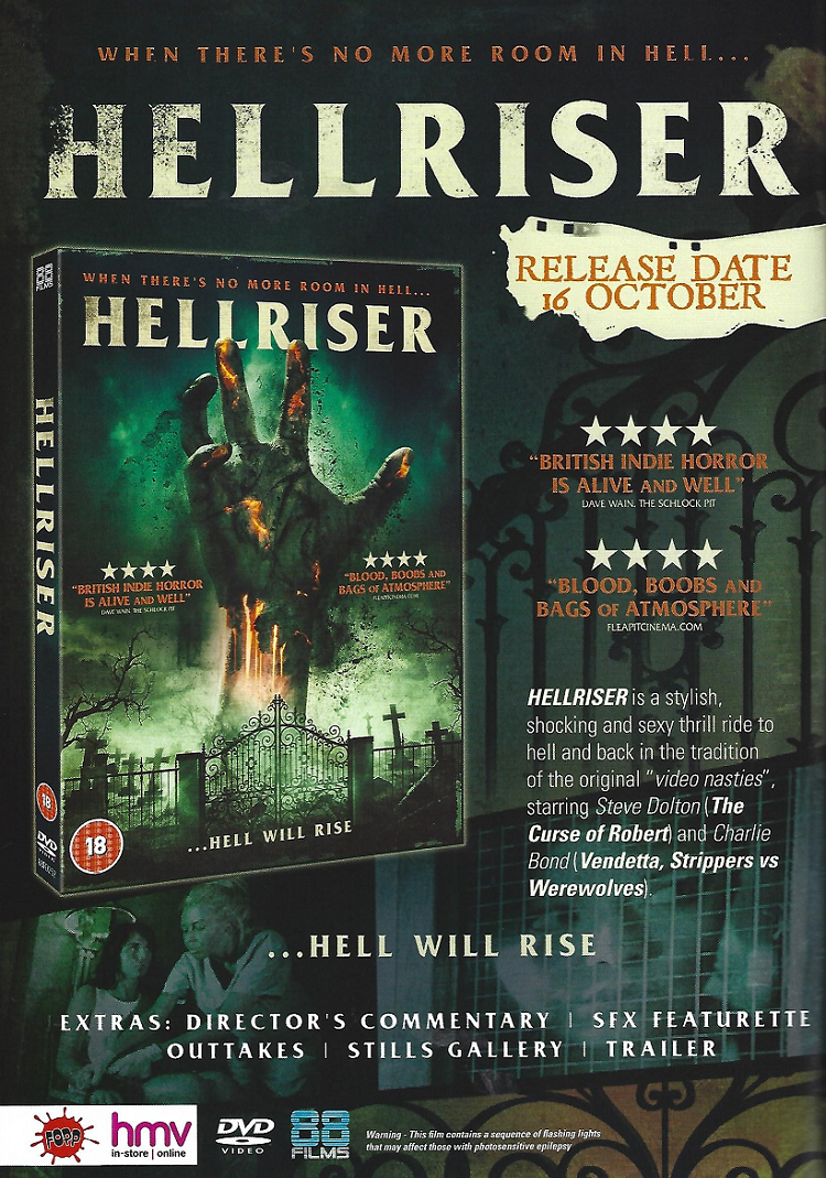 full-page advert in the November 2017 edition of Scream Magazine for Hellriser