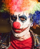 "actor ""Nathan Head"" as the ""killer clown"" in horror movie ""Theatre Of Fear"""