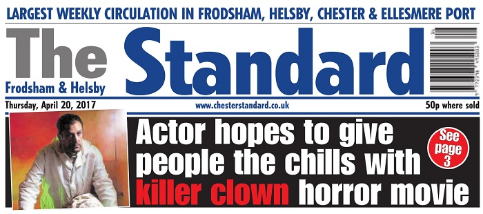 "The Standard Thursday 20th April 2017 - actor ""Nathan Head"" - Clownface - Doctor Who - Hellriser - Theatre Of Fear"