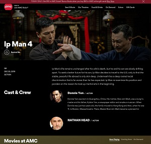 Ip Man 4 on the AMC Cinema website homepage - November December 2019