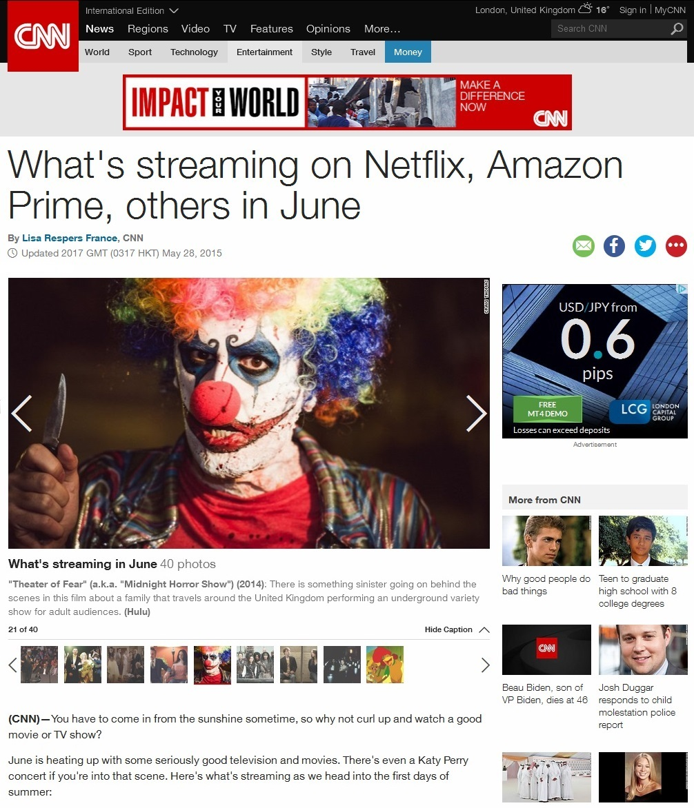 actor Nathan Head featured on the CNN homepage for shows coming to US Netflix